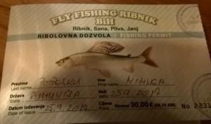 Fly Fishing license Ribnik